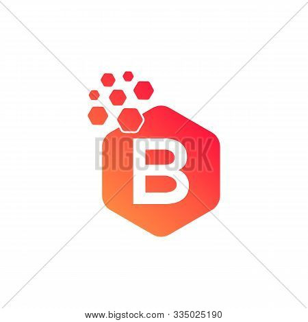 B Dots Logo Design Template. Hexagon B Icon. B Letter Logo Vector. Hexagon Logo, B Letter, B Dots, B
