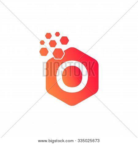 O Dots Logo Design Template. Hexagon O Icon. O Letter Logo Vector. Hexagon Logo, O Letter, O Dots, O
