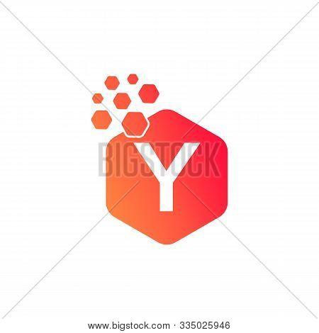 Y Dots Logo Design Template. Hexagon Y Icon. Y Letter Logo Vector. Hexagon Logo, Y Letter, Y Dots, Y