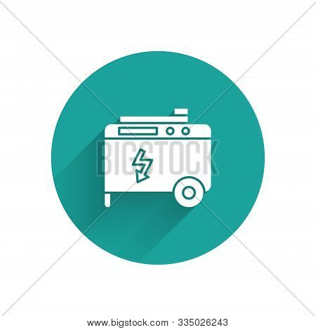 White Portable Power Electric Generator Icon Isolated With Long Shadow. Industrial And Home Immovabl