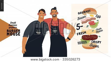 Burger House -small Business Graphics - Owners -modern Flat Vector Concept Illustrations -two Young