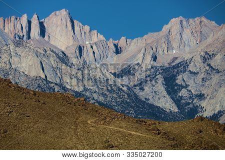 Mountain Peaks Including Mt Whitney On A High Altitude Ridge Taken In The Sierra Nevada Mountains, C