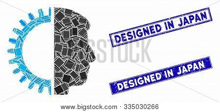 Mosaic Android Head Pictogram And Rectangular Seal Stamps. Flat Vector Android Head Mosaic Pictogram