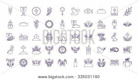 Icon Set Design, Religion Communion Christianity God Faith Spirituality Belief Pray And Hope Theme V