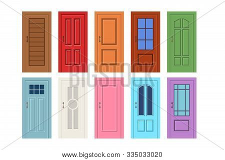 Entrance Doors. Set Of Entrance Doors In A Flat Style. Set Of Isolated On White Background Entrance