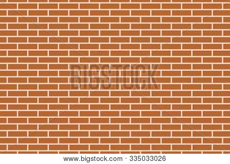 Vector Illustration Of A Brown Brick Wall Pattern Background, Abstract Red Brick Vector Background.