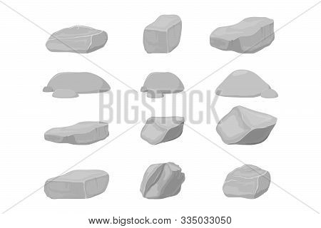 Rock Stones. Graphite Stone, Coal And Rocks Pile For Wall Or Mountain Pebble. Gravel Pebbles, Gray S
