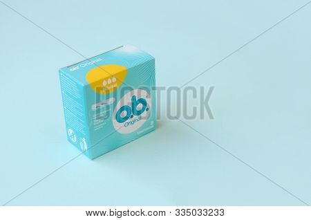 O.b. Original Normal Tampons In A Small Box. Ob Is Global Brand Of Feminine Hygiene Products Or Pers