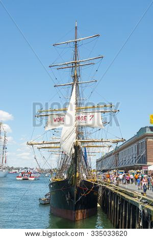 Boston, Usa - Jun. 21, 2017: Picton Castle, A Sail Training Ship Of Canada With Registered In Cook I