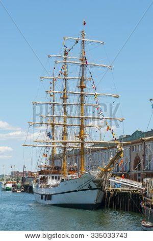 Boston, Usa - Jun. 21, 2017: Bae Guayas, A Sail Training Ship Of The Ecuadorian Navy, Was Docked At