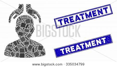 Mosaic Psychiatry Hands Icon And Rectangular Stamps. Flat Vector Psychiatry Hands Mosaic Icon Of Sca