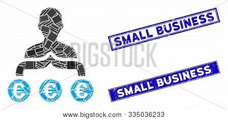 Mosaic Euro Capitalist Pictogram And Rectangle Seal Stamps. Flat Vector Euro Capitalist Mosaic Icon
