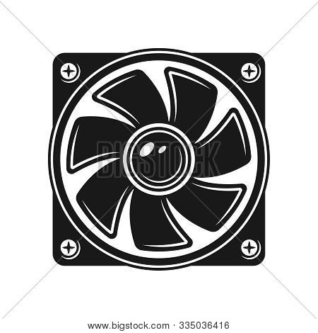 Computer Cooling Fan Vector Object Or Design Element Isolated On White Background