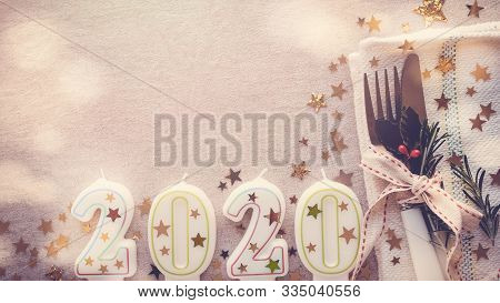 Happy New Year 2020 Table Place Setting, New Year Eve Lunch And Dinner Menu Concept