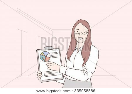 Analytics, Progress Indicator, Conference Planning Concept. Young Happy Woman Businesswoman Analyst