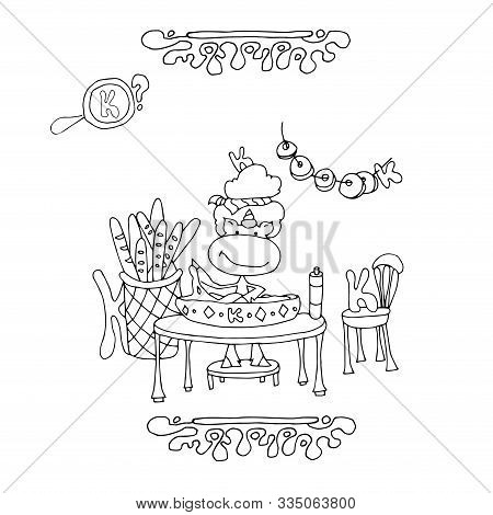 Letter K with Ornament coloring page | Free Printable Coloring Pages | 470x450