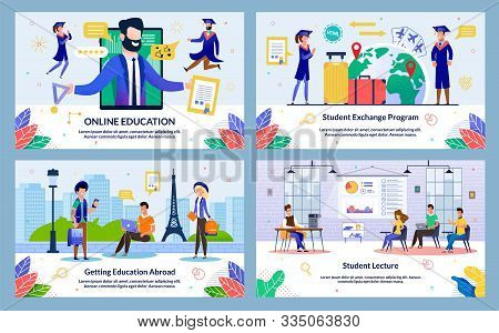 Set Vector Illustration Student Lecture, Slide. Banner Online Education, Getting Education Abroad, S