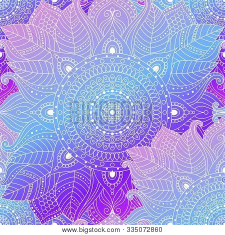 Seamless Boho Arabesque Pattern. Laced Decorative Floral Background With Gradient Leaves, Mandala. G