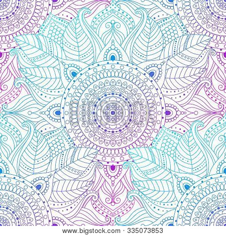 Seamless Oriental Arabesque Pattern. Laced Decorative Floral Background With Circular Ornament, Grad