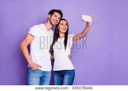 Portrait Of His He Her She Nice Attractive Charming Lovely Cheerful Cheery Glad Couple Taking Making
