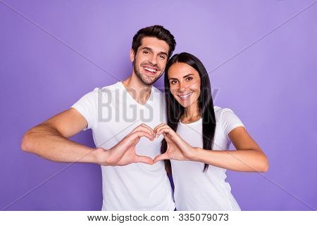 Close-up Portrait Of His He Her She Nice Attractive Lovely Charming Lovable Cheerful Cheery Couple S