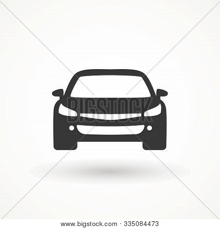 Car Vector Icon. Isolated Simple View Front Logo Illustration. Sign Symbol. Auto Style Car Logo Desi