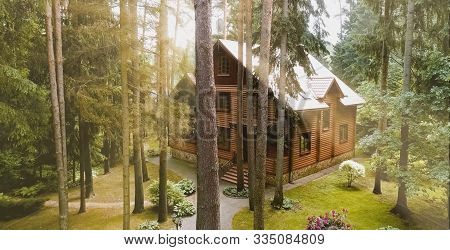 Constructed From A Wooden Log House, Wooden House.