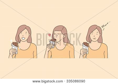 Eating Chocolate, Happiness Hormone, Endorphin Production Concept. Young Woman With Yummy, Happy Gir