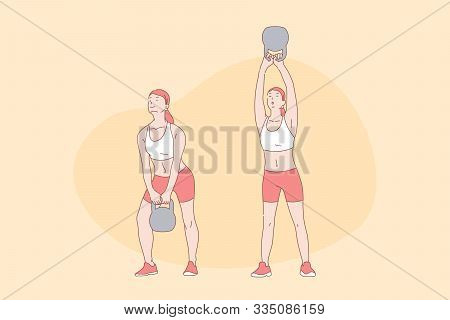 Sport Exercises, Workout, Functional Training, Active Lifestyle Concept. Young Woman Lifting Weight,