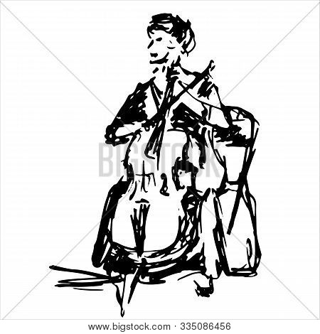 Woman Cellist Siting And Playing Cello Vector Silhouette. Music Artist Girl Play String Instrument.