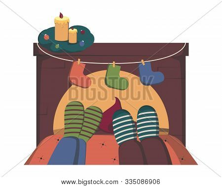 Couple In Warm Socks Relaxing Near Fireplace On Winter Evening, Flat Vector Illustration