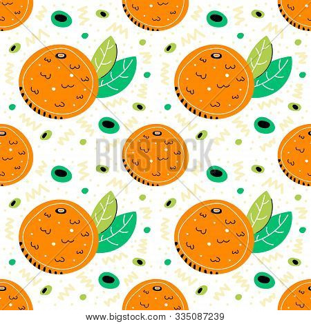 Mandarin Vector Hand Drawn  Seamless Pattern. Mandarin With Leaves. Tropical Fruit Pattern. Mandarin