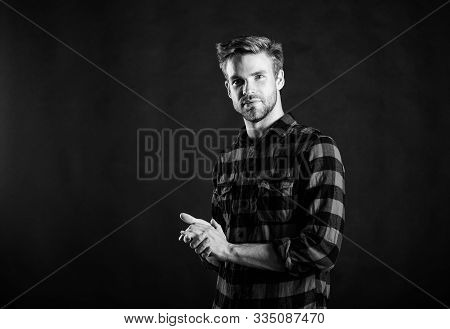 Meaning Of Modern Manliness. Barbershop And Beauty Salon. Hipster Black Background. Exhibit Masculin