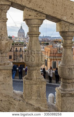Rome, Italy, Lazio Region Abstract Blurred City View Behind Stone Stairway Balusters