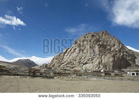 Jammu Kashmir, India - March 20 : View Landscape And Cityscape Of Tsati Village In Nubra Lake Valley