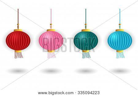 Set Chinese Lantern On An Isolated White Background. Red Lantern. Blue Lantern. Green Lantern.  Pink