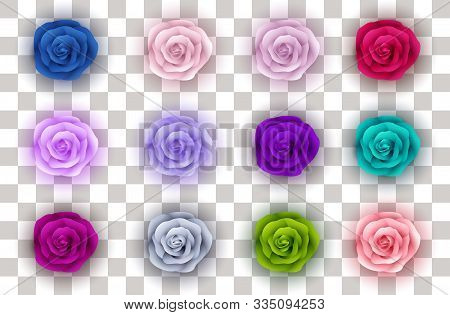 Collection Roses On Transparent Background. Icon Rose. Roses Red, Beige, Green, Purple, Pink, Blue,
