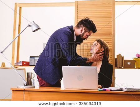 Love Cannot Be Hidden. Love Affair Of Bearded Man And Sexy Woman. Couple In Love Conducting Affair.