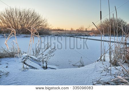 The First November Frosts, Bound Lakes And Rivers With Ice. Pezinok.
