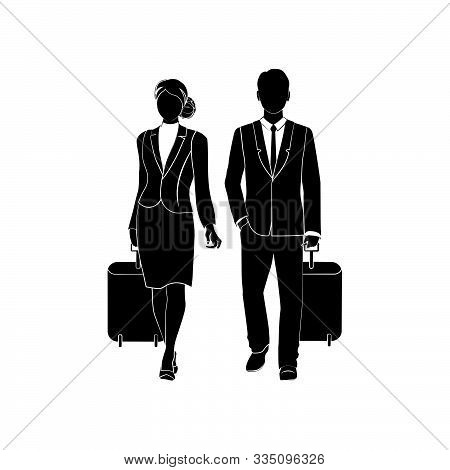 Businessman Or A Manager Comes With A Suitcase For Traveling. Large Briefcase On Wheels. The Concept