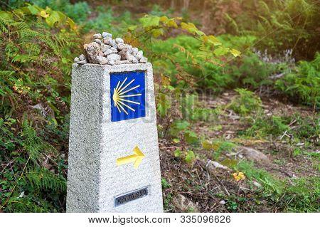 Yellow Scallop Shell, Touristic Symbol Of The Camino De Santiago Showing Direction On Camino Norte I