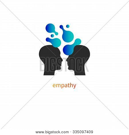Psychology Icon, Psychotherapy Logo, Vector Profiles Of Two Men, Empathy Sign