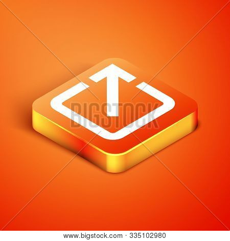 Isometric Open In New Window Icon Isolated On Orange Background. Open Another Tab Button Sign. Brows