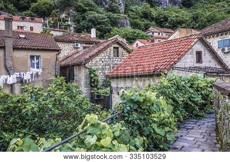 Kotor, Montenegro - May 25, 2017: Old Buildings Seen From Ramparts Of Historic Part Of Kotor Town