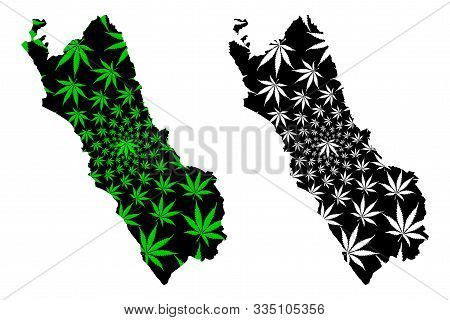 Department Of Lima (republic Of Peru, Regions Of Peru) Map Is Designed Cannabis Leaf Green And Black