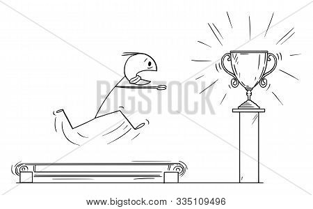 Vector Cartoon Stick Figure Drawing Conceptual Illustration Of Man Or Businessman Running On The Tre