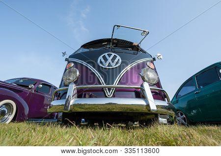 Rushmoor, Uk - April 19: Fully Restored Purple Split-screen Volkswagen Camper At A Meeting Of Classi