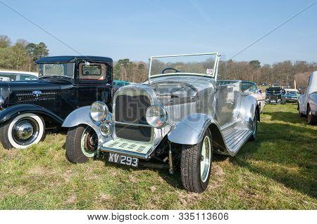 Rushmoor, Uk - April 19: Fully Chromed Custom Restoration Of A Ford Model A At A Meeting Of Vintage