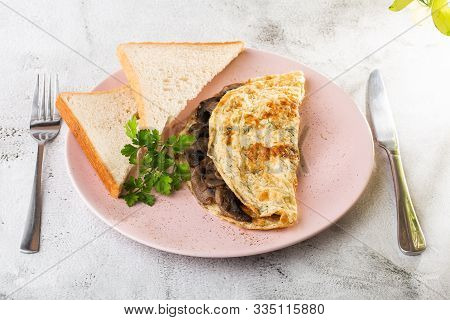 Omelet with mushrooms and sourdough toast isolated on white marble background. Homemade food. Tasty breakfast. Selective focus. Hotizontal photo. poster