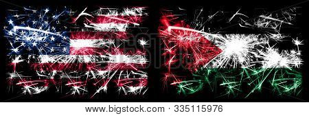 United States Of America, Usa Vs Palestine, Palestinian New Year Celebration Sparkling Fireworks Fla